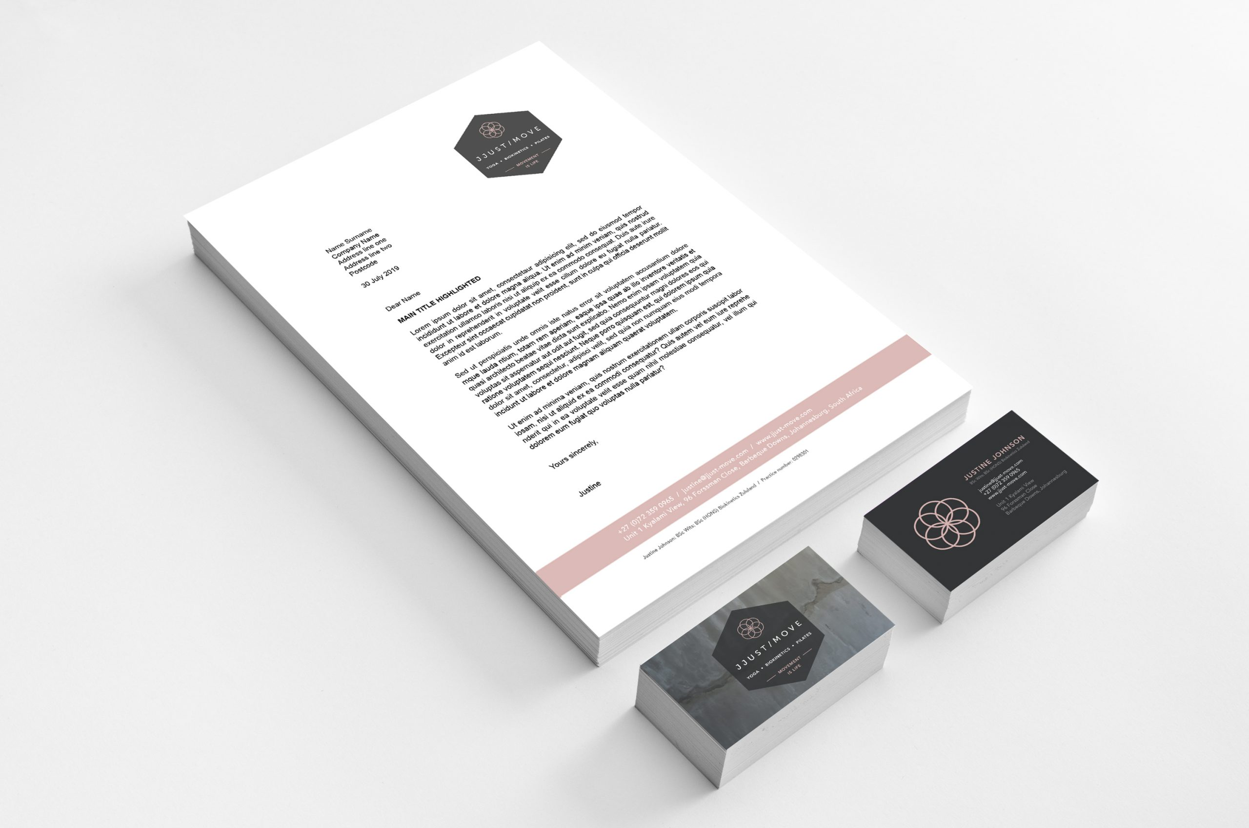 JJust Move letterhead and business cards, designed by MR.SMiTH